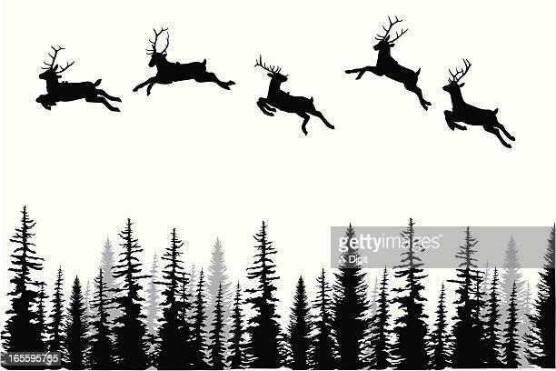 reindeer dance vector silhouette - treelined stock illustrations, clip art, cartoons, & icons