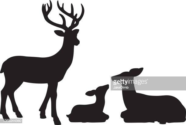 illustrazioni stock, clip art, cartoni animati e icone di tendenza di reindeer family silhouettes - femmina di daino