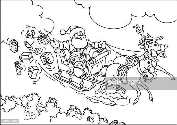 Rentier Weihnachtsmann fliegen im Schlitten