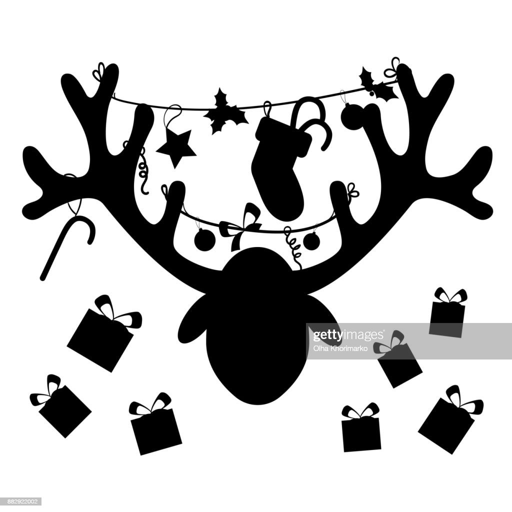 Reindeer Head With Christmas Gift Boxessilhouette High Res Vector Graphic Getty Images