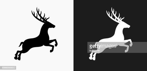 Reindeer Icon on Black and White Vector Backgrounds