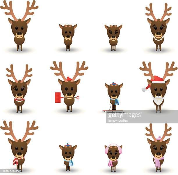 reindeer icons - winterdienst stock illustrations