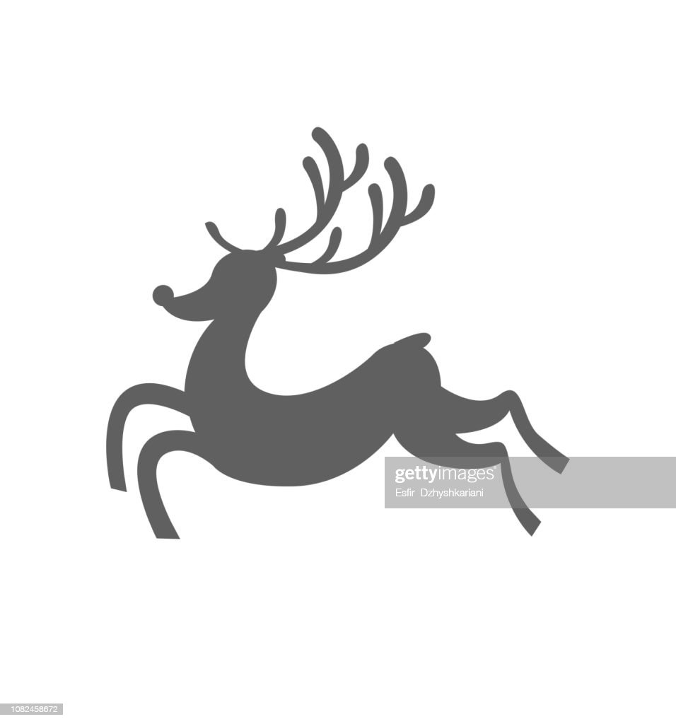 Reindeer runs or fly silhouette christmas icon vector flat vector illustration isolated on white