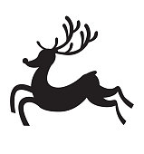 Reindeer runs silhouette icon vector flat vector illustration isolated on white