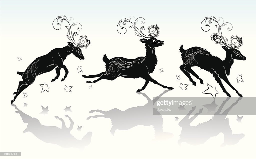 Reindeer silhouette with the ornament. : stock illustration