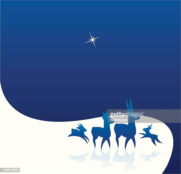 reindeer silhouettes in the snow background - north star stock illustrations