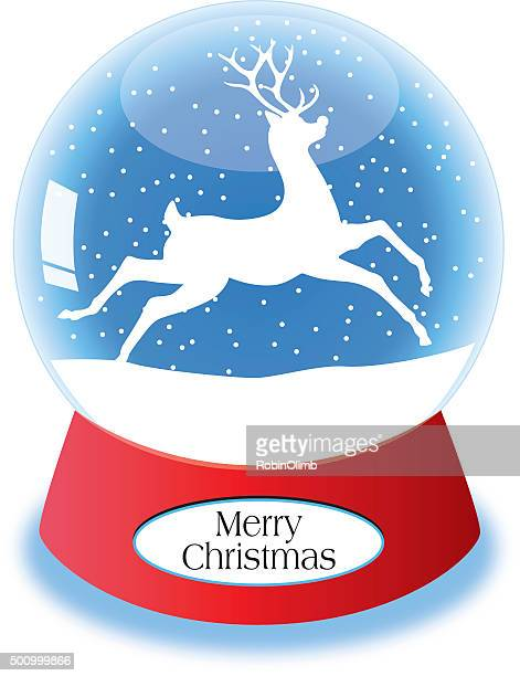 reindeer snow globe - music box stock illustrations