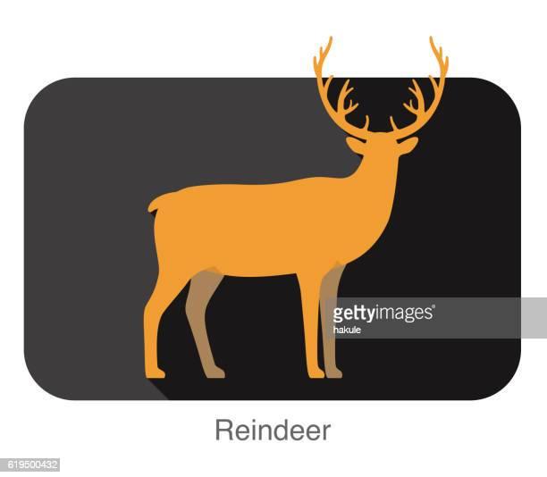 reindeer walking flat 3D design, vector illustration