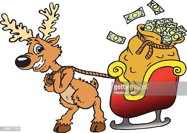 reindeer with cash! - christmas cash stock illustrations