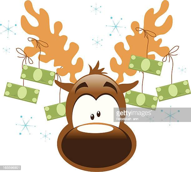reindeer with money! - christmas cash stock illustrations