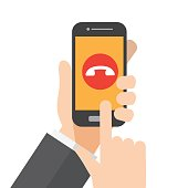 reject smartphone call , ignore ringing phone. hand holds smartphone. vector illustration.