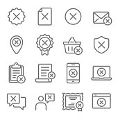 Reject Vector Line Icon Set. Contains such Icons as Cancellation, Deny, Error, Failed and more. Expanded Stroke