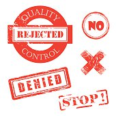 Rejected, Denied, Stop, X, Quality Control Distressed Red Stamps