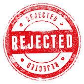 Rejected red grunge round vintage rubber stamp