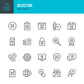 Rejection - thin line vector icon set. Pixel perfect. Editable stroke. The set contains icons: Accessibility, Rejection, Failure, Checkbox, Privacy, Alertness, Delete Key, Cross Shape, Forbidden.