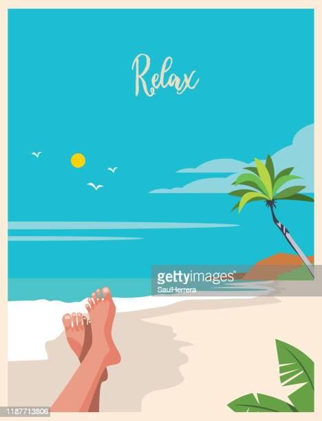 illustrations, cliparts, dessins animés et icônes de détendez-vous - vacances - turisme et voyages - vacances à la mer