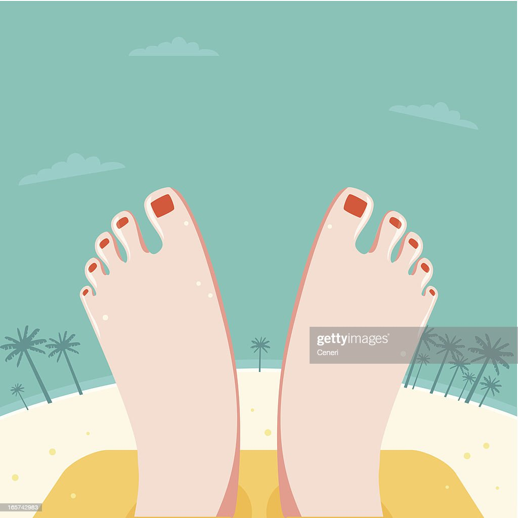 Relaxed Feet at a beach : stock illustration
