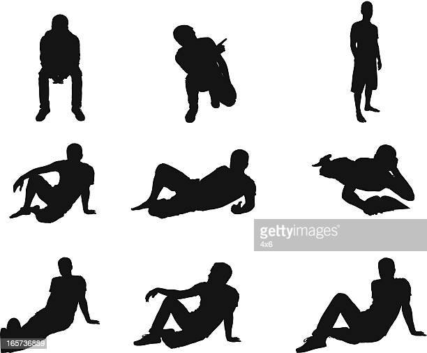 Relaxed men in different poses