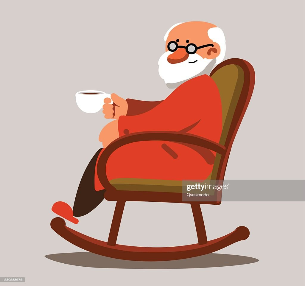 ... Relaxed Old Man Sitting In Rocking Chair And Drinking Tea
