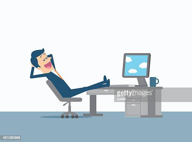 relaxing businessman - serene people stock illustrations