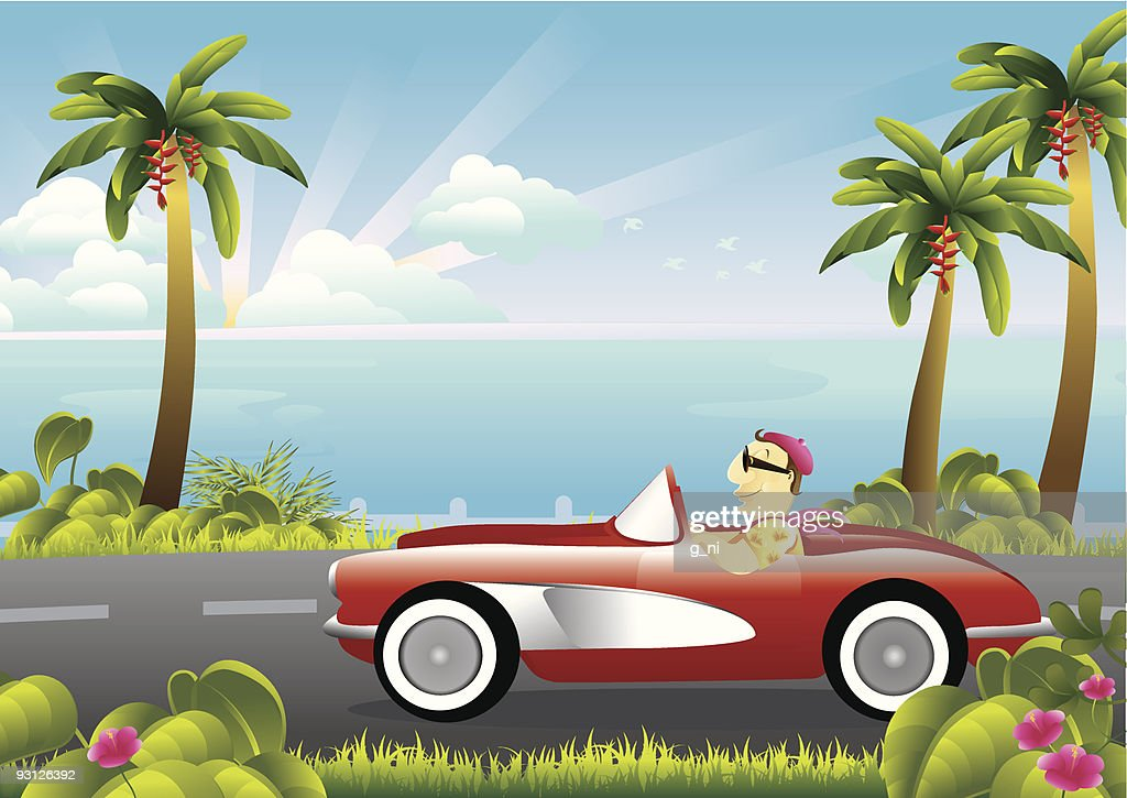 Relaxing coastal drive in a classic car