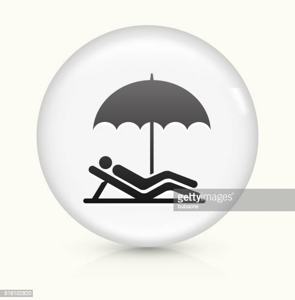 relaxing icon on white round vector button - beach holiday stock illustrations, clip art, cartoons, & icons