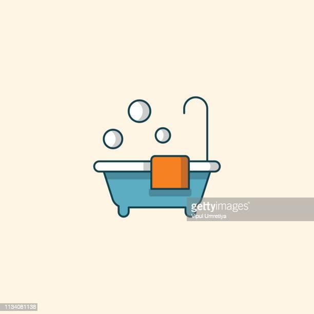 ilustraciones, imágenes clip art, dibujos animados e iconos de stock de relajante en un baño de burbujas - bañera con patas