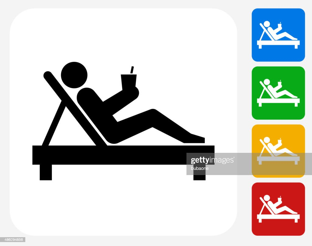 Relaxing Stick Figure Icon Flat Graphic Design