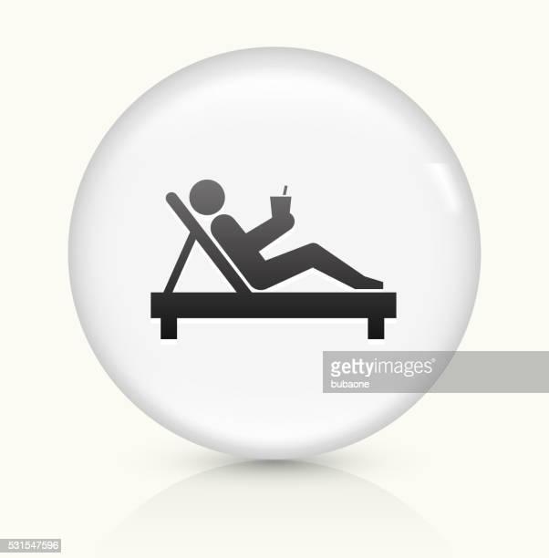 Entspannende Strichmännchen Symbol auf weißer Runder Vektor Knopf