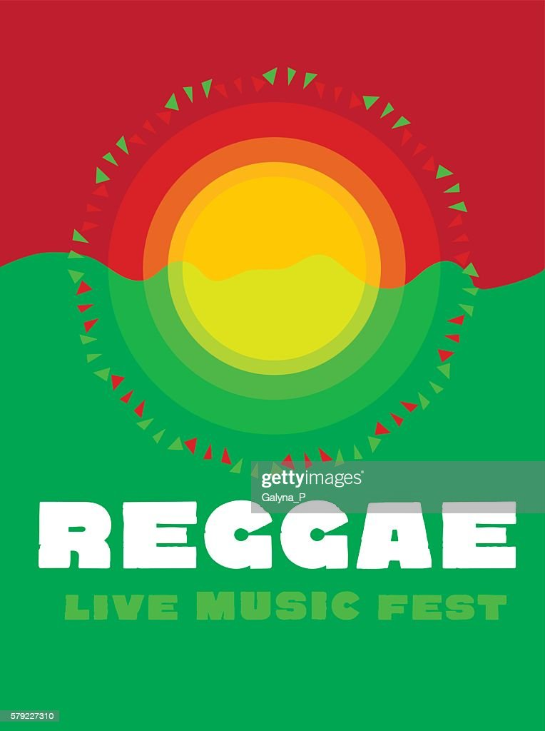 relaxing travel poster in reggae music color. Jamaica tribal sim