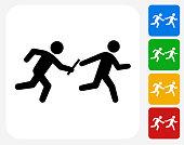 Relay Race Icon Flat Graphic Design