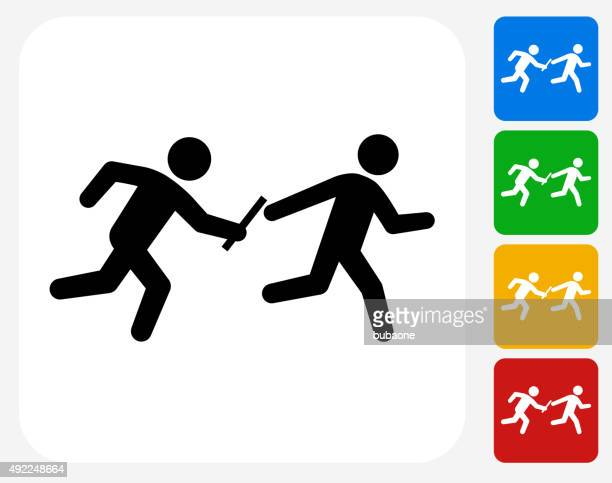relay race icon flat graphic design - track and field stock illustrations, clip art, cartoons, & icons