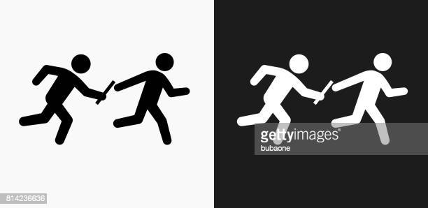 relay race icon on black and white vector backgrounds - sport set competition round stock illustrations