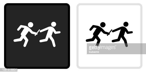 relay race icon on  black button with white rollover - passing sport stock illustrations
