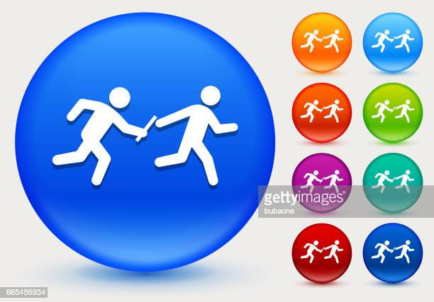Relay Race Icon on Shiny Color Circle Buttons