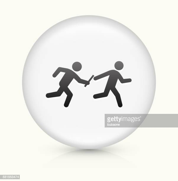 Relay Race icon on white round vector button