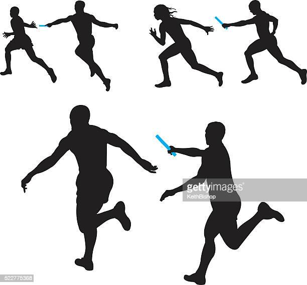 relay race, track meet, competition, teamwork - track and field stock illustrations, clip art, cartoons, & icons