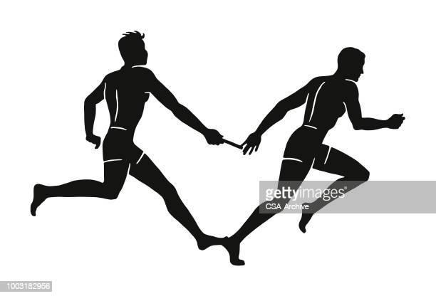 ilustraciones, imágenes clip art, dibujos animados e iconos de stock de carrera de relé - pista de atletismo