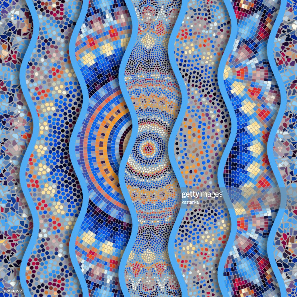 Relief waves of ornamental mosaic tile patterns