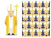 Religion Christian Pope Cartoon Emotion Faces Vector Illustration