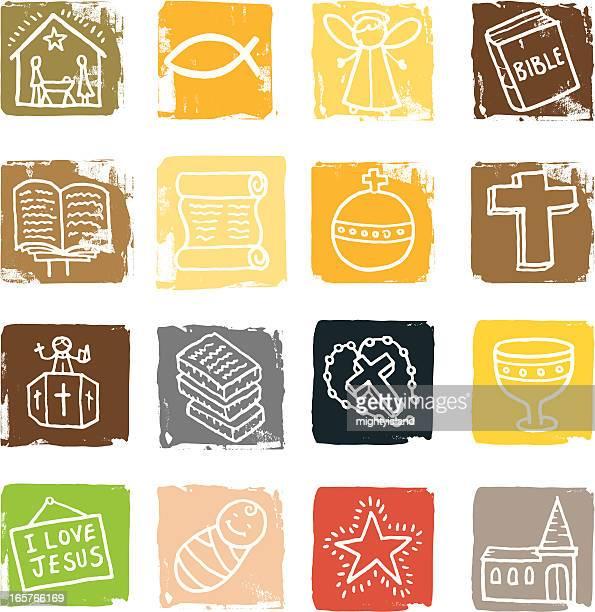 ilustrações, clipart, desenhos animados e ícones de religião grunge quarteirão conjunto de ícones - bíblia
