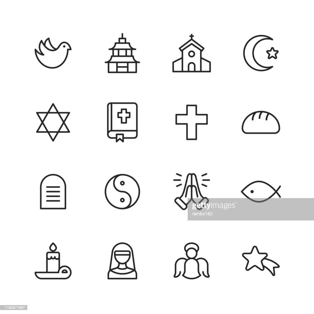 Religie iconen. Bewerkbare lijn. Pixel perfect. Voor mobiel en Internet. Bevat zulke iconen als religie, God, geloof, bidden, christelijk, katholiek, kerk, islam, jodendom, moslim, Hindoeïsme, meditatie, Bijbel. : Stockillustraties