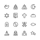 Religion Icons. Editable Stroke. Pixel Perfect. For Mobile and Web. Contains such icons as Religion, God, Faith, Pray, Christian, Catholic, Church, Islam, Judaism, Muslim, Hinduism, Meditation, Bible.