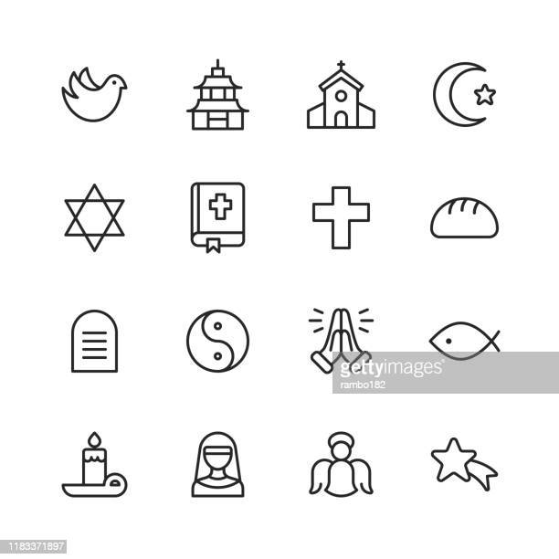 religion icons. editable stroke. pixel perfect. for mobile and web. contains such icons as religion, god, faith, pray, christian, catholic, church, islam, judaism, muslim, hinduism, meditation, bible. - church stock illustrations