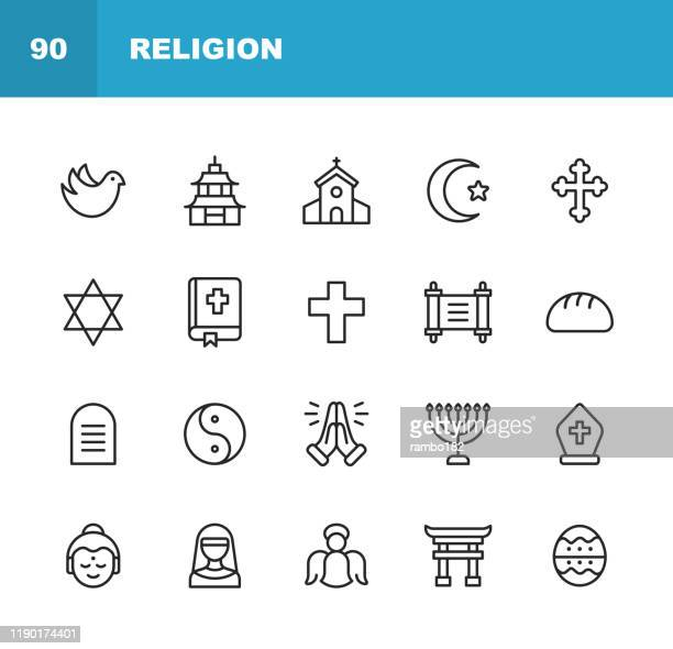 religion icons. editable stroke. pixel perfect. for mobile and web. contains such icons as religion, god, faith, pray, christian, catholic, church, islam, judaism, muslim, hinduism, meditation, bible. - christianity stock illustrations