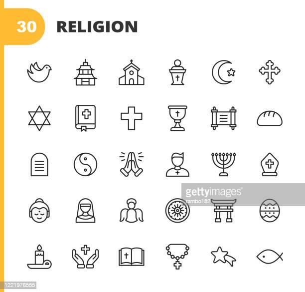 religion ikonen. bearbeitbarer strich. pixel perfekt. für mobile und web. enthält solche ikonen wie religion, gott, glaube, beten, christ, katholik, kirche, islam, judentum, muslim, hinduismus, meditation, bibel, weihnachten, heilige messe, priester, eng - religion stock-grafiken, -clipart, -cartoons und -symbole