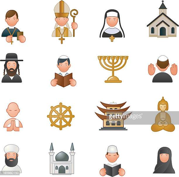 religion icons - bishop clergy stock illustrations, clip art, cartoons, & icons
