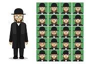 Religion Judaism Rabbi Cartoon Emotion Faces Vector Illustration