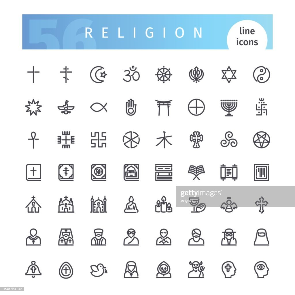 Religion Line Icons Set
