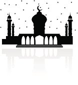 Religion mosque with Crescent moon and stars, and a reflection